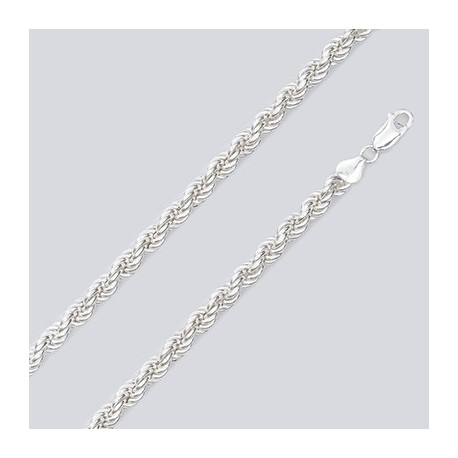 6 MM Sterling Silver Hollow Rope Chain With Lobster Claw