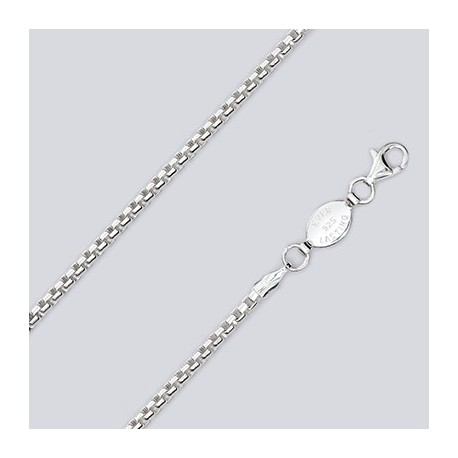 2.5 MM Sterling Silver Round Box Chain With Pear Lobster Claw