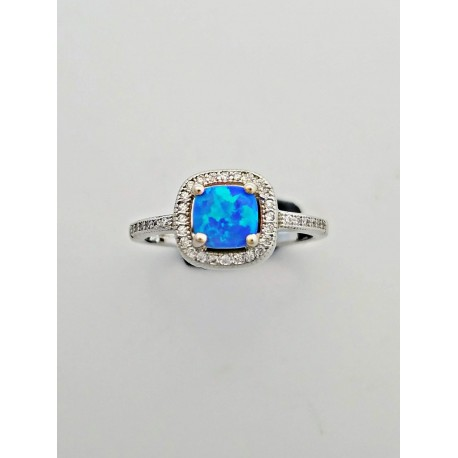 Sterling Silver Faux Opal Center With CZ Around Circumference