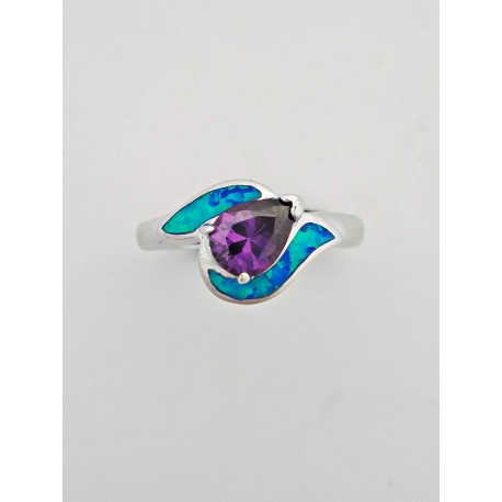 Sterling Silver Faux Opal With Purple Center Stone