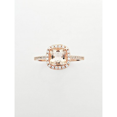 Sterling Silver Rose Gold Plated With Peach Topaz With CZ Around Circumference