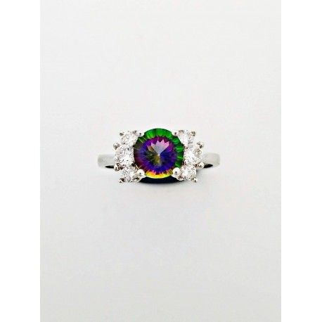 Sterling Silver Iridescent Topaz Ring With CZ