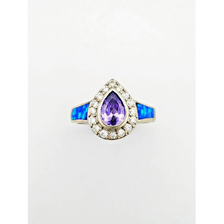 Sterling Silver Purple Center Stone Faux Opal Ring With CZ