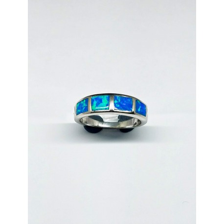 Sterling Silver Faux Opal Inlay Band Ring