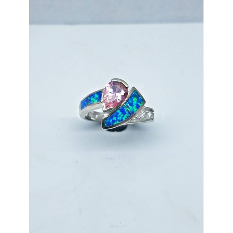 Sterling Silver Faux Opal Ring With Pink Tear Drop Stone And CZ