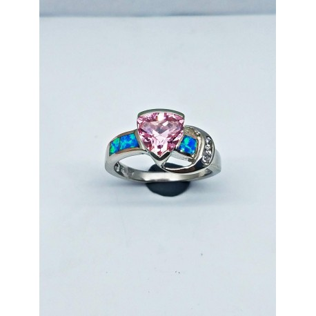 Sterling Silver Faux Opal Ring With Pink Stone And CZ