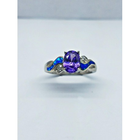 Sterling Silver Faux Opal Ring With Oval Purple Stone
