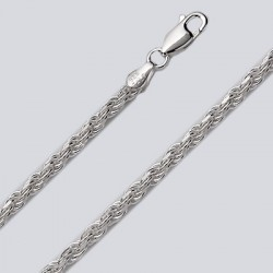 3.3 MM Sterling Silver Rope Chain With Lobster Claw