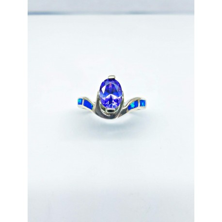 Sterling Silver Faux Opal Ring With Purple Oval Stone