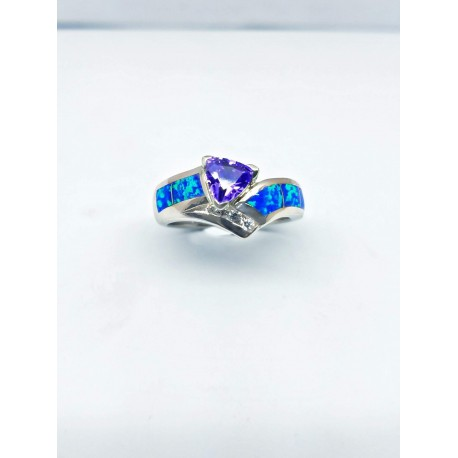 Sterling Silver Faux Opal Ring With Purple Stone And CZ