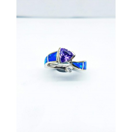 Sterling Silver Faux Opal Ring With Triangular Purple Stone And CZ