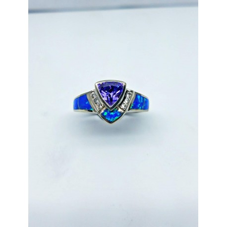 Sterling Silver Faux Opal Ring With Triangular Purple Stone