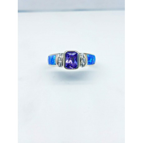 Sterling Silver Faux Opal Ring With Rectangular Purple Stone