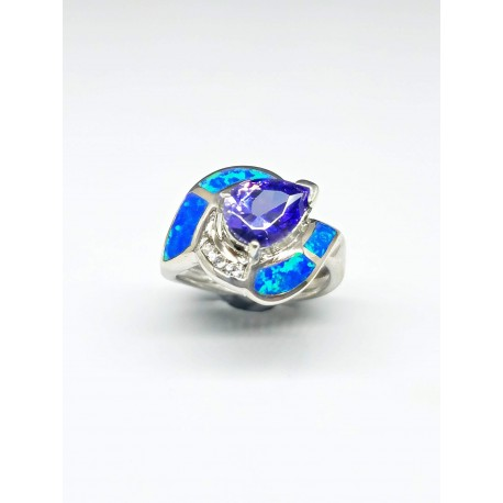 Sterling Silver Faux Opal Ring With Tear Drop Purple Stone