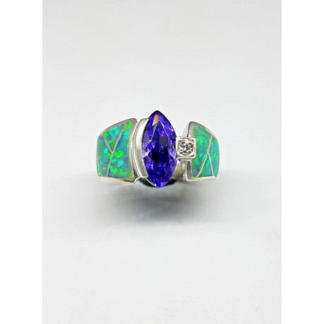 Sterling Silver Faux Opal Ring With Oval Stone and CZ