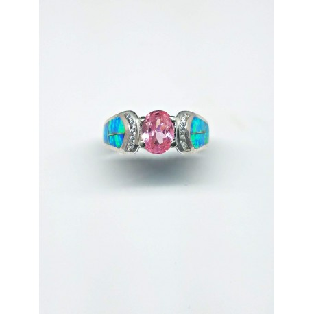 Sterling Silver Faux Opal Ring With Oval Pink