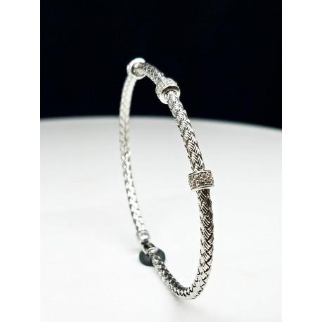 Sterling Silver Adjustable Bracelet With CZ