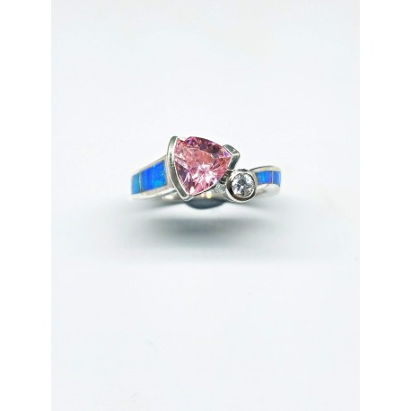 Sterling Silver Faux Opal Ring With Triangular Pink Stone