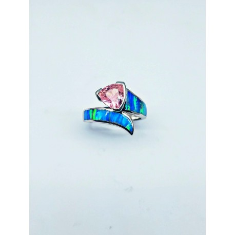 Sterling Silver Faux Opal Ring With Triangular Stone