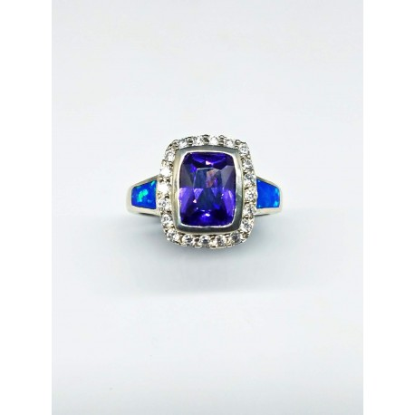 Sterling Silver Faux Opal Ring With Purple Stone With CZ