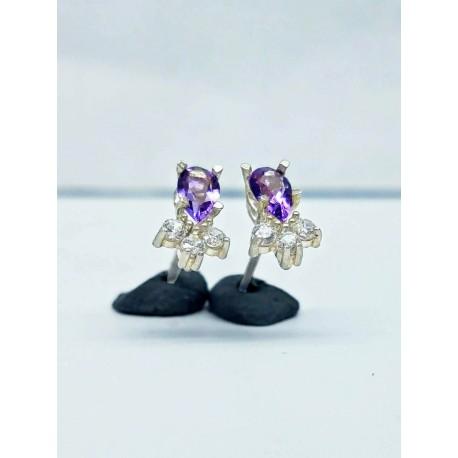 Sterling Silver Purple Stud Earrings