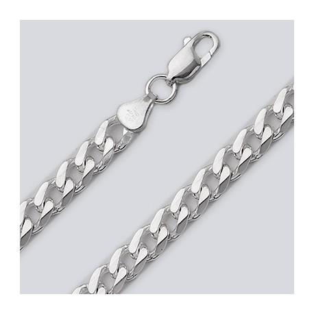 6.8 MM Sterling Silver Curb Chain With Lobster Claw
