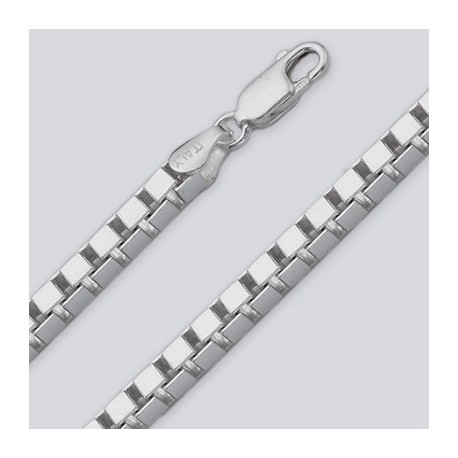 3.8 MM Sterling Silver Box Chain With Lobster Claw