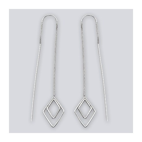 Sterling Silver Diamond Shaped Threaded Earrings