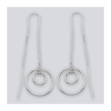 Sterling Silver Round Threaded Earrings