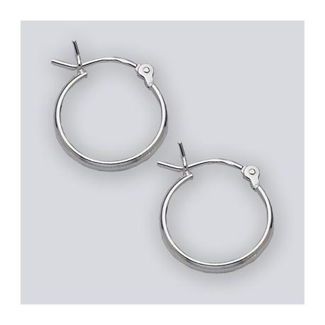 14 MM Sterling Silver Hoop Earrings With Hinge Top