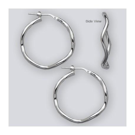 35 MM Sterling Silver Wave Hoop Earrings