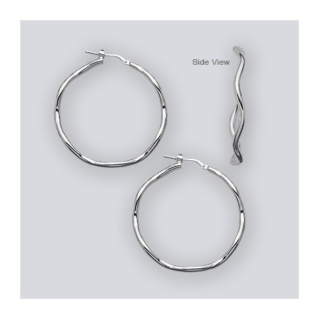 40 MM Sterling Silver Wave Hoop Earrings