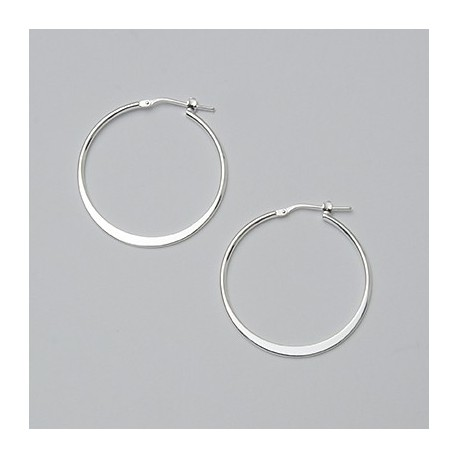 30 MM Sterling Silver Flat Hoop Earrings