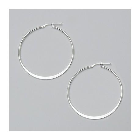 40 MM Sterling Silver Flat Hoop Earrings