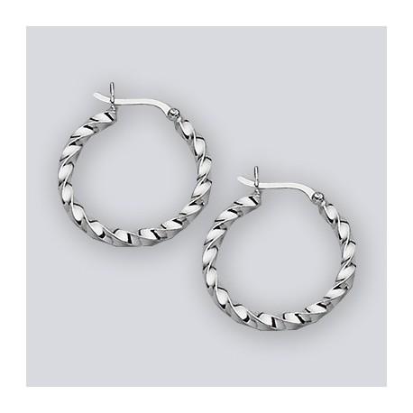 27 MM Sterling Silver Twisted Wire Hoop Earrings