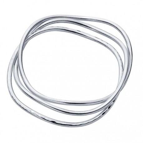Sterling Silver Interlocking Waves Bangle Bracelet