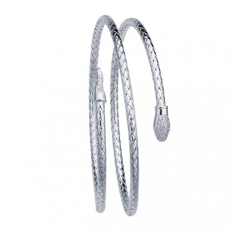 Sterling Silver Rhodium Plated Snake Bangle With CZ